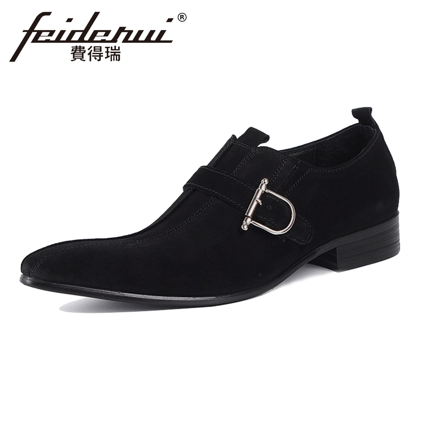 New Arrival Cow Suede Leather Mens Loafers Pointed Toe Slip on Man Wedding Flats Fashion Height Increasing Casual Shoes YMX53 2017 summer new fashion sexy lace ladies flats shoes womens pointed toe shallow flats shoes black slip on casual loafers t033109