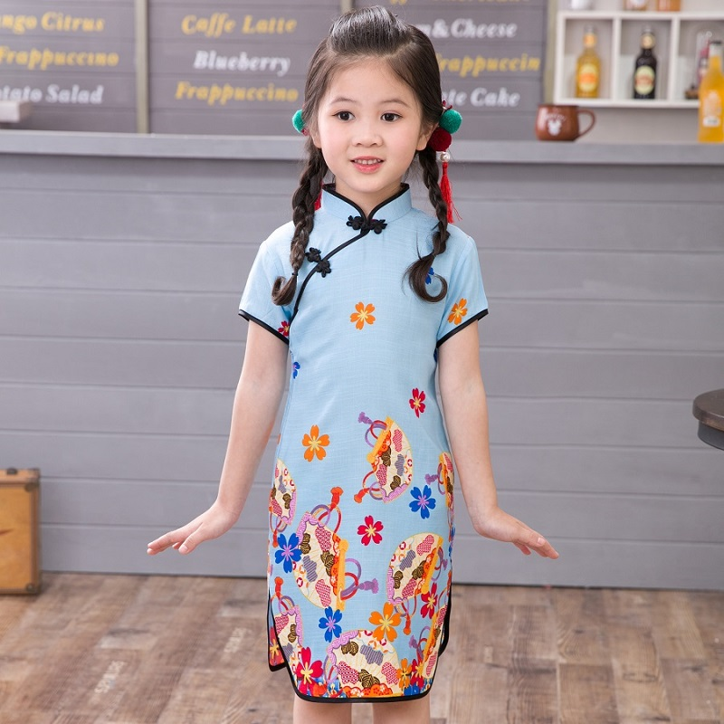 Girls Dresses Chinese Traditional Cheongsam Costume Summer Floral Girls Chi pao Clothing Children Girl Children Clothing 2 10Y in Dresses from Mother Kids