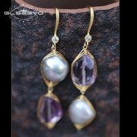 GLSEEVO Raw Mineral Amethyst Baroque Natural Freshwater Pearl Drop Earrings For Women Handmade Dangle Earrings Jewelry