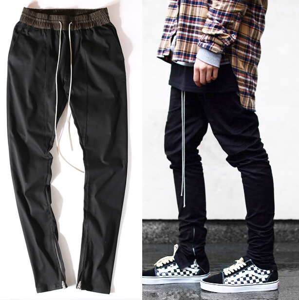 2017 Pants Slim Trousers Skateboard Fashion Skinny Zipper Casual Joggers Pants Swag Hip Hop Men Trousers Free Shipping