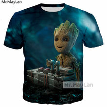 Guardians Of The Galaxy Lucu Rocket Racoon Baby Groot 3D Print T-shirt Pria/Wanita Fashion O Leher Kaos Anak Laki-laki kawaii Atasan(China)