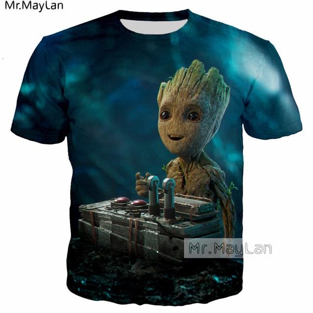 97e6c0e92 Strażnicy galaktyki słodkie Rocket Racoon Baby Groot 3D T-shirt z nadrukiem  mężczyźni/kobiety