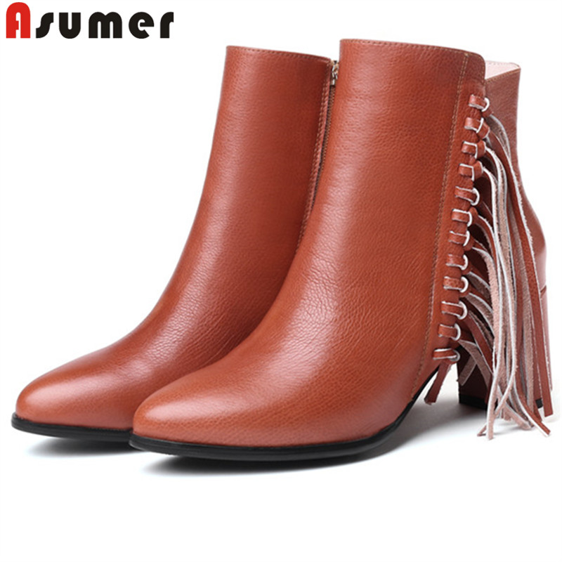 цена на ASUMER 2019 autumn winter new ankle boots women pointed toe zip genuine leather boots high heels shoes woman big size 34-43