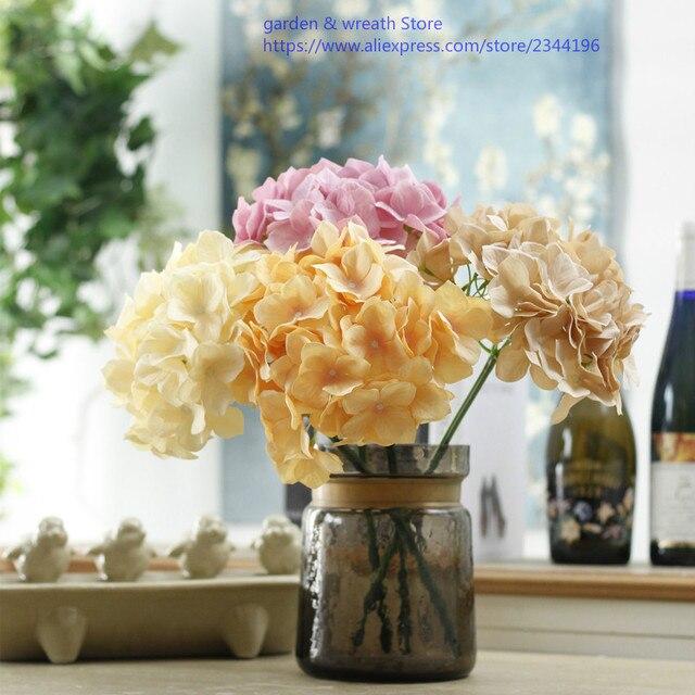 Gray Dream Pink Mandarin Orange Champagne Single Silk Hydrangeas