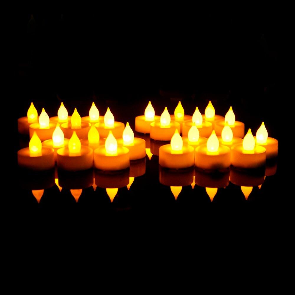 EVERBRITE 24 ШТ. СВЕТОДИОДНЫЕ Свечи Свет Чая Мерцание Непламено Лампы для Дома Decoartion Свадьбу Xmas Свечи Свет