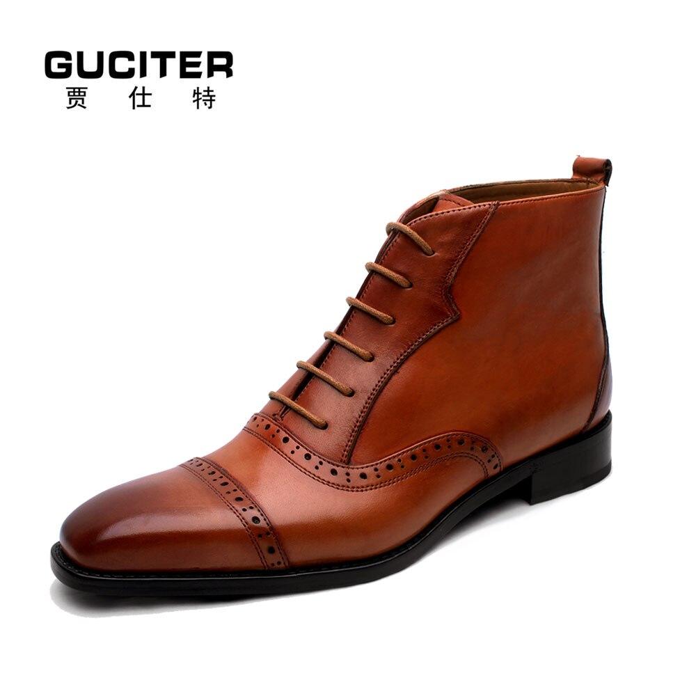 Goodyear font b mens b font boots Manual made genuine leather font b shoes b font
