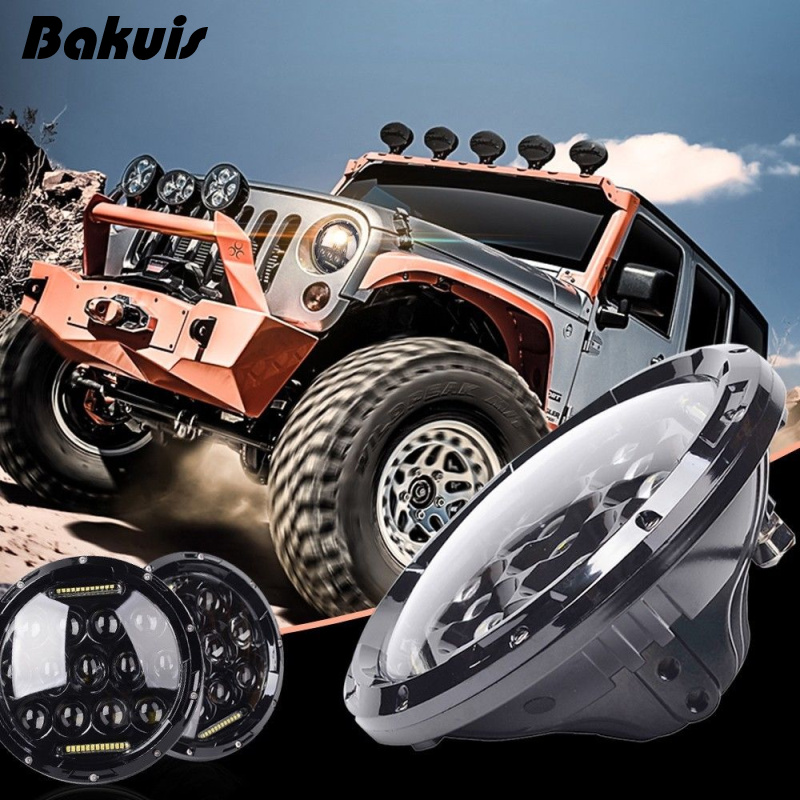 For Lada 4x4 urban Niva Pair 7 Inch Round Led Headlight Drl Hi/Lo Beam For Jeep Wrangler Jk Tj Cj Lj For Hummer H1 H2 whdz 1pc round 7inch 75w round led headlight hi low beam head light with bulb drl for jeep wrangler tj lj jk cj 7 cj 8 scrambler
