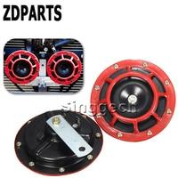 ZDPARTS 2PCS For Bmw E46 E39 E60 E90 F30 F10 E30 X5 E53 F20 Citroen C5 C4 C3 Saab Car Stickers Red Electric Blast Tone Horn Kit