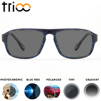 caa3f3135e TRIOO Sunglasses with diopters Black UV400 Photochromic Glasses Square Prescription  Eye Glasses Myopia Driving Sun Glasses