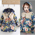 Hot sale 2016 new autumn winter girls korean baby clothes fleece jackets Xmas kids print flower children thick warm coat hoodied