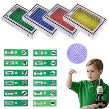 цена 12pcs Plastic Prepared Microscope Slides of Animals Insects Plants Flowers Sample Specimens for Biological Microscope онлайн в 2017 году
