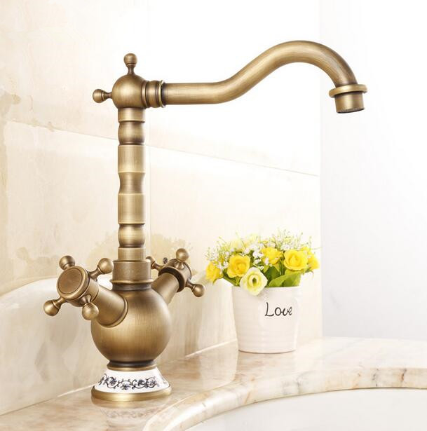 Antique Bronze Finish 360 Degree Swivel Brass Faucet Bathroom Basin Sink Mixer Bath& kitchen taps Faucet antique bronze 360 degree swivel brass faucet bathroom basin sink mixer bath taps faucet dual cross head handle home decoration