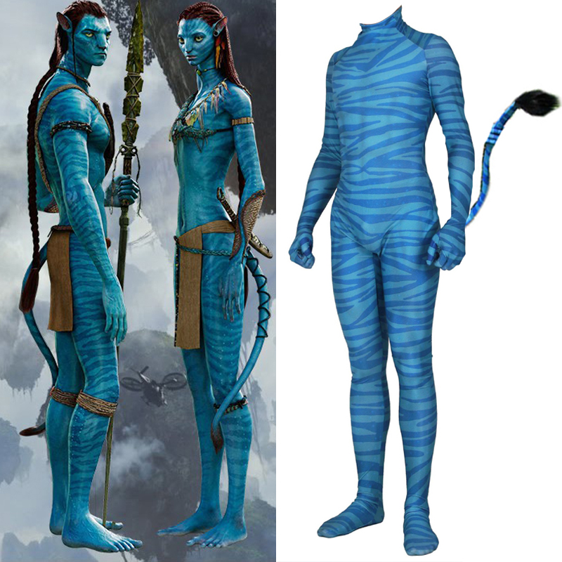 Movie Avatar 2 Jumpsuit Cosplay Costume Polyester Na'vi Tail Bodysuit Adult Unisex Halloween Gifts
