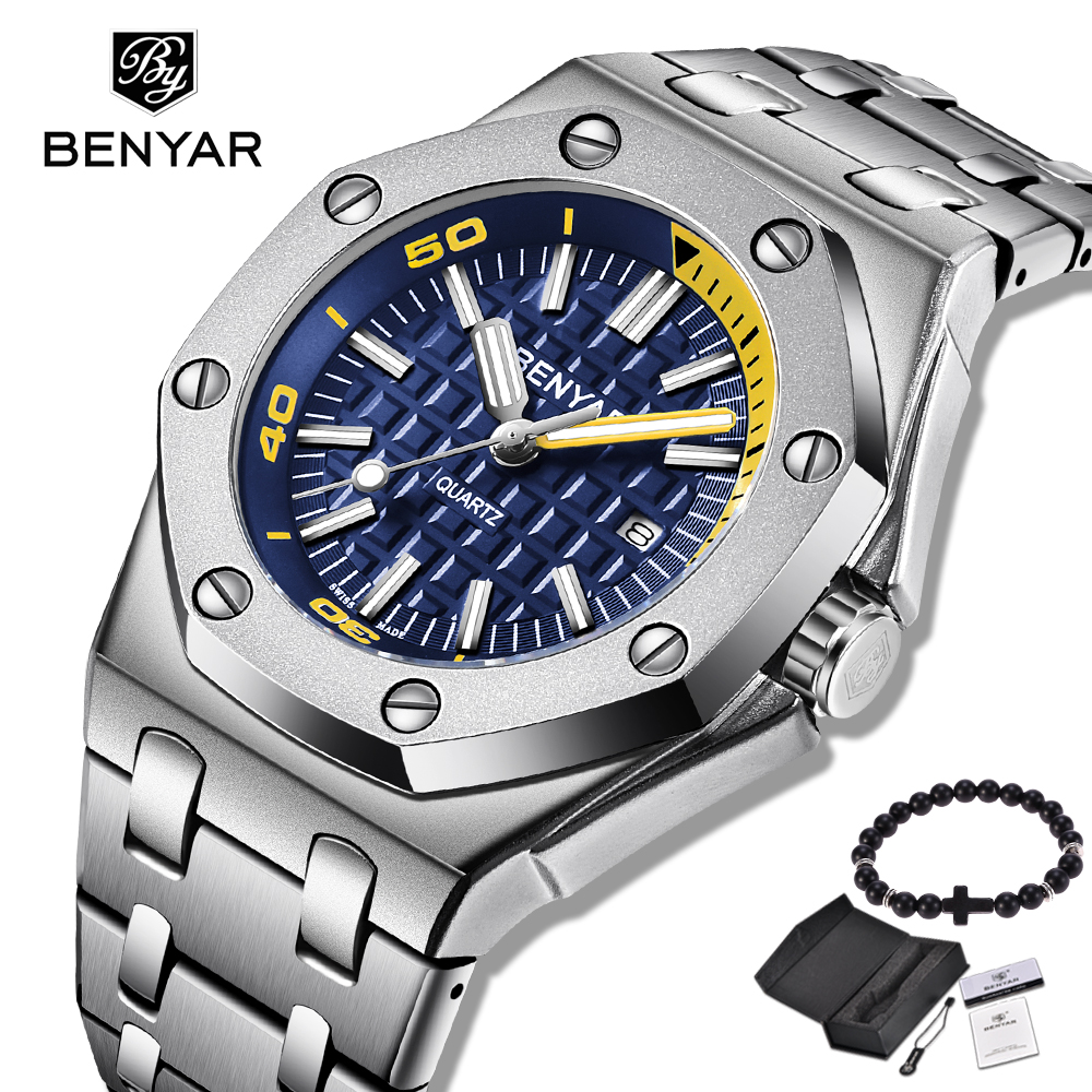 Free Gift New BENYAR Fashion Men Watches Male Brand Luxury Quartz Watch Men Casual Waterproof Sport WristWatch Relogio Masculino