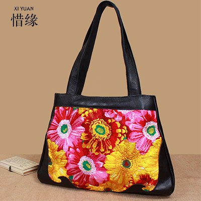 Chinese Style Genuine Leather Bag Women Handbag Embroidery Ethnic Summer Fashion Handmade Flowers Ladies Tote Shoulder hand Bags free shipping vintage hmong tribal ethnic thai indian boho shoulder bag message bag pu leather handmade embroidery tapestry 1018