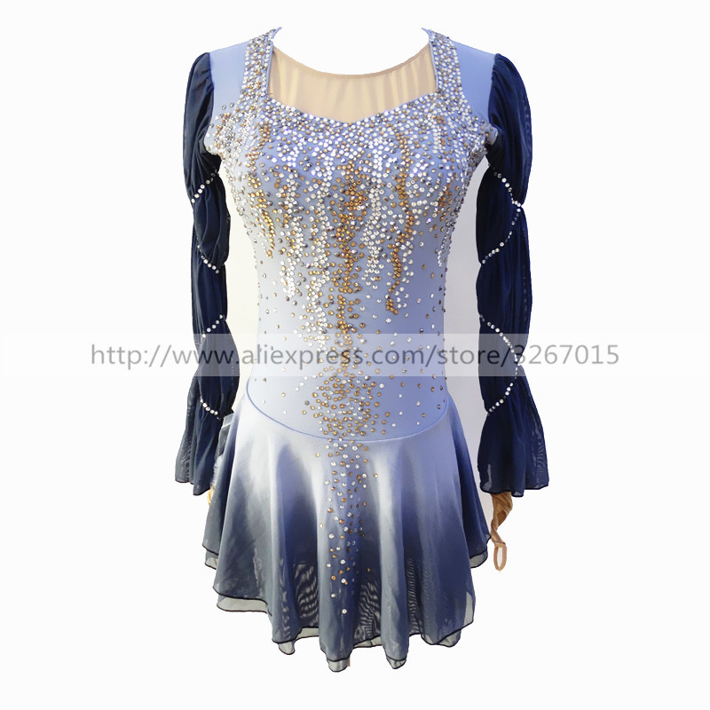 Figure Skating Dress Womens Girls Ice Skating Dress Light grey High elastic spandex fabric Artificial water drill Backlessbacklessbackless dress  -