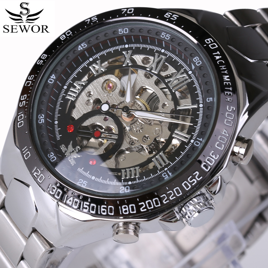 SEWOR Skeleton Mechanical Watch Luxury Men Silver Waterproof Fashion Casual Military Brand Sports Watches Full Steel Relogios sewor new arrival luxury brand men watches men s casual automatic mechanical watches diamonds hour stainless steel sports watch