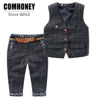 New Boys Blazer Sets Fashion Plaid Vest Pants Suits Gentlemen Style Suits For Wedding Party Toddler