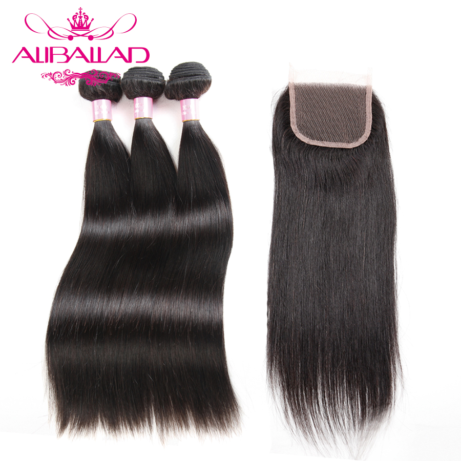 Aliballad Malaysian Straight Hair Bundles With 4 4 Lace Closure Non Remy Hair Weaving 3 Bundles