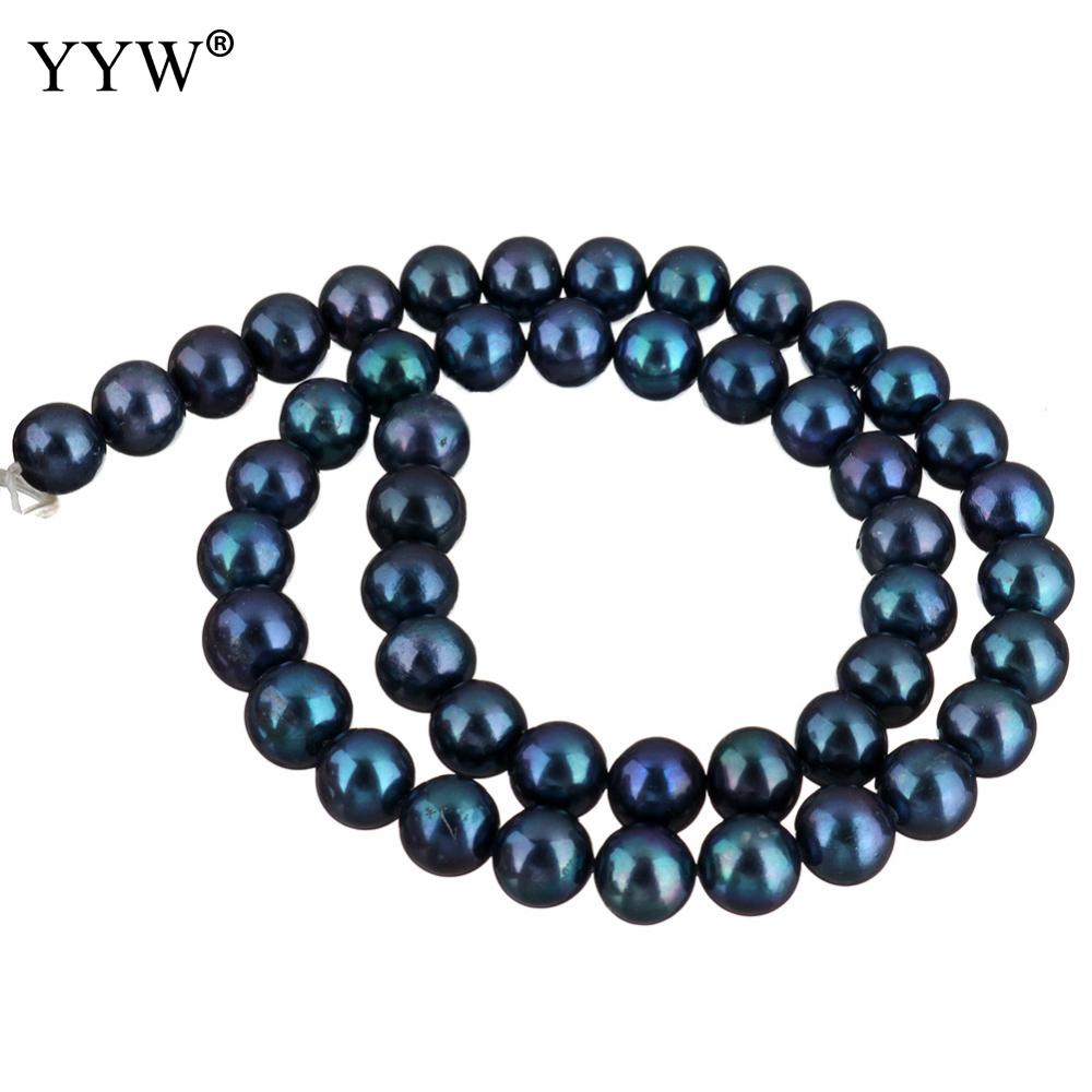 Cultured Potato Freshwater Pearl Beads blue 9-10mm Approx 0.8mm Sold Per Approx 15 Inch Strand