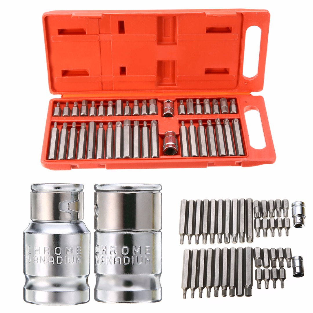 Mayitr 40Pcs Torx Hex Star Spline Socket Bit Set Magnetic Screwdriver Head Bit Repair Tools Adapters 3/8 1/2 Power Tool