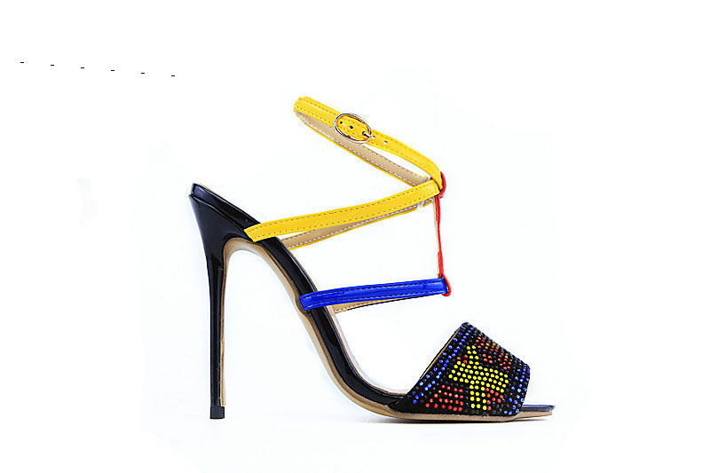 Women high heel sandals super high thin heels open toe T-strap ankle strap slingbacks crystal decoration women party shoes 2017 women fashion high heel platform sandals super high thin heels ankle strap faux fur decoration cutouts blue women shoes