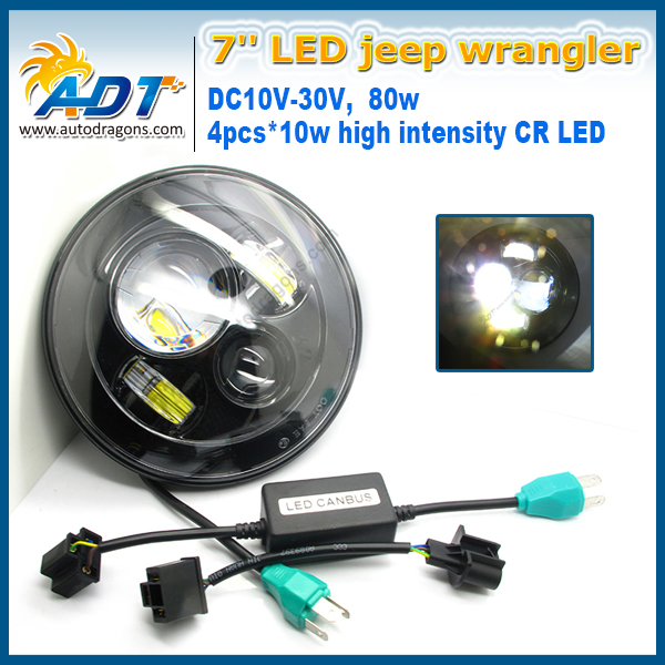 7Inch 7200LM 80W Auto Cr  Round LED Headlight Car Driving Kit For Jeep Wrangler JK CJ H4 Hi lo Beam DC10-30V For Land Rover impact of job satisfaction on turnover intentions