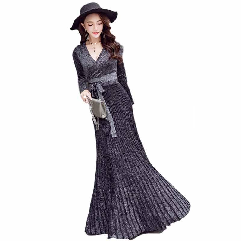 Hiver femme robe 2019 chaud sexy slim robe de soirée à manches longues col en v robe en tricot grande balançoire plissée ceinture longue robe femmes - 3