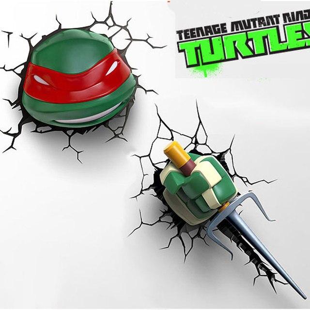 Lampe 3D Teenage Mutant Ninja Turtles Novelty Usb Light Anime Nightlight  Children Sticker Led Lamp With