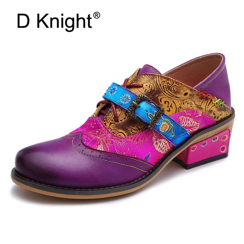 D rycerz w stylu Vintage kobiety pompy prawdziwej skóry buty kobiety czeski wydrukowano kostki pasek blok obcasy wiosna lato buty Zapatos w Buty damskie na słupku od Buty na  Grupa 1