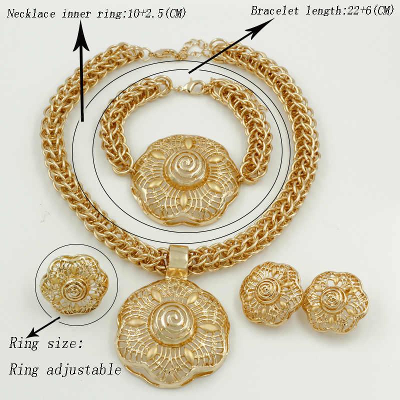 Liffly mode Dubai or bijoux ensembles pour femmes mariage africain grand collier fleur Bracelet ensemble de bijoux de mariée