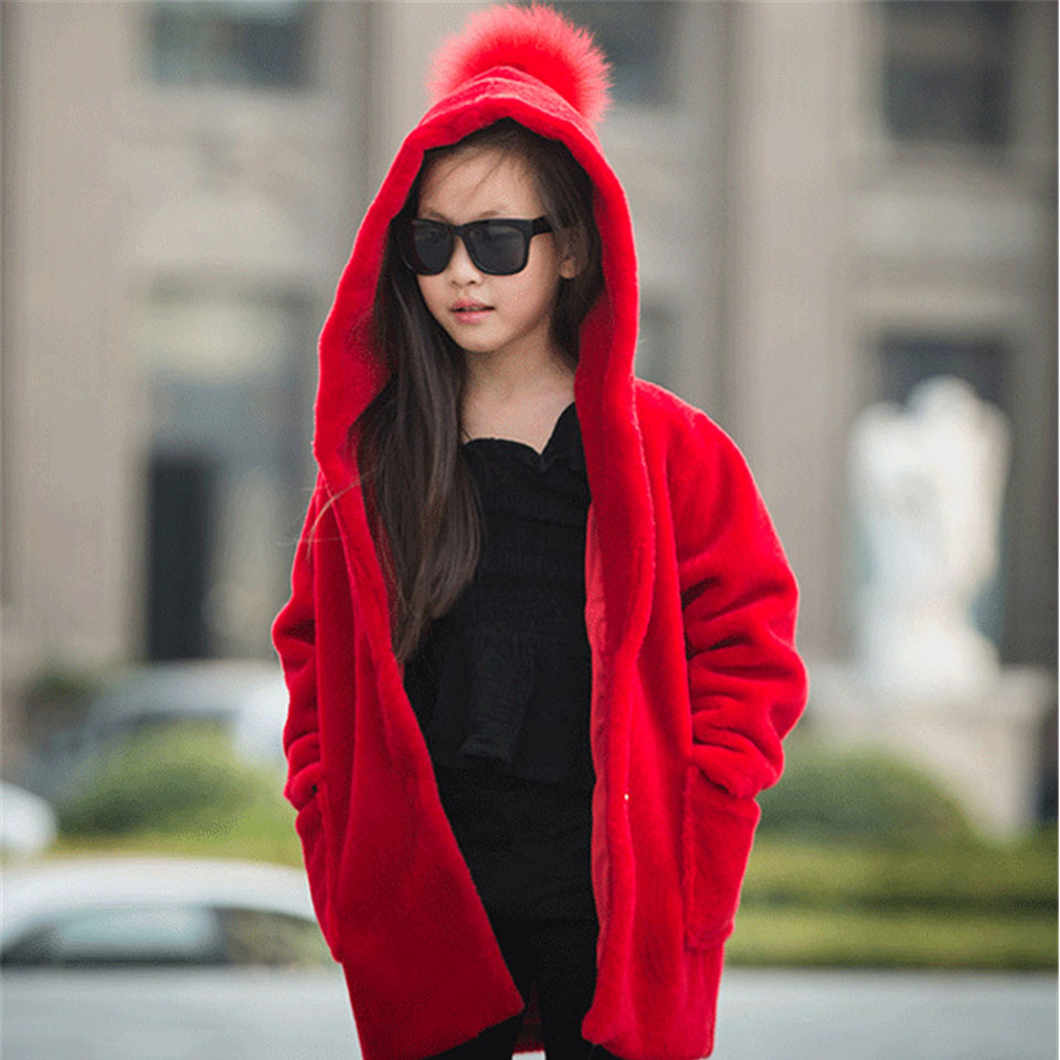 Children Real Sheepskin Fur Coat Winter Warm Christmas Long Clothing with Hooded Kids Fashion Solid Outerwear Sheep Fur Jacket 2017 winter new clothes to overcome the coat of women in the long reed rabbit hair fur fur coat fox raccoon fur collar