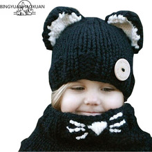 BINGYUANHAOXUAN High quality Kids girls Fox Style Hedging cap Knitted wool hats Winter Fashion Children Windproof Hats boys Hat все цены