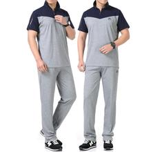 Summer 2017 quinquagenarian men's t shirt clothing loose casual short-sleeve T-shirt + trousers set father wear grey slim fit