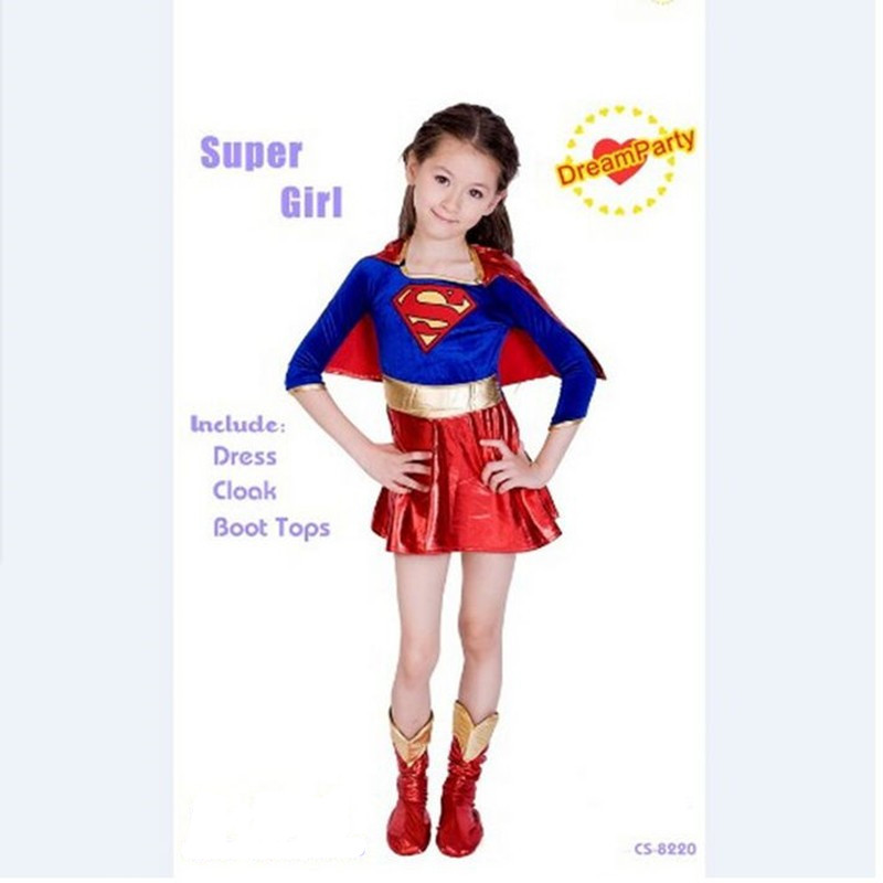24hours Ship Kids Superman Supergirl Costume For Halloween Carnival Party Cosplay Superman Birthday New Year Dress Costumes