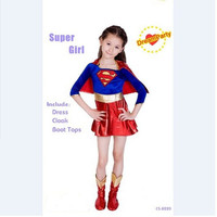 2016 New Child Supergirl Sexy Girl Super Hero Costume Cosplay Party For Super Girl Costume Kids