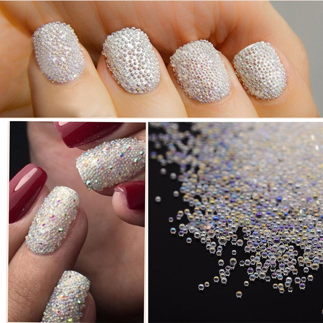 New 2 Colors Glass Beads Nail Art Decoration Transparent White Beads ...