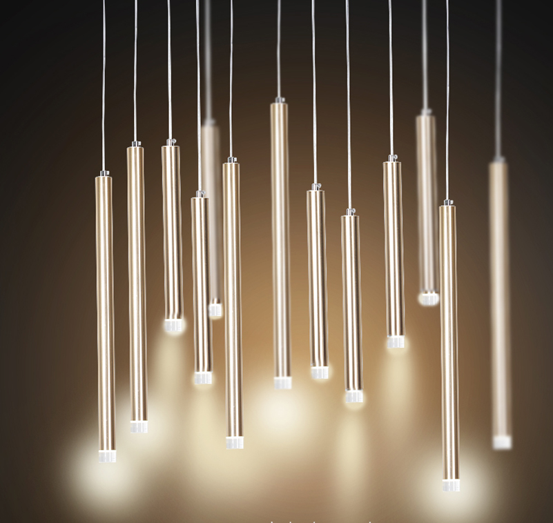 Pendant light LED Single Lamp Long Bar Design Saving Energy Golden