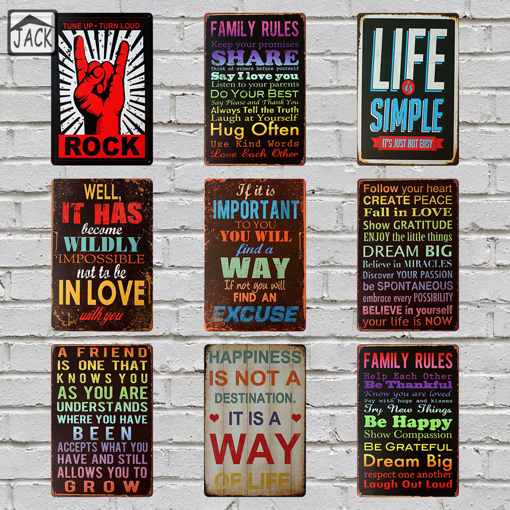 Poster design rules - Family Rules Tin Signs Bar Pub Cafe Gallery Lounge Home Wall Decor Retro Plaques Metal Art Poster Shabby Chic Vintage Decoration