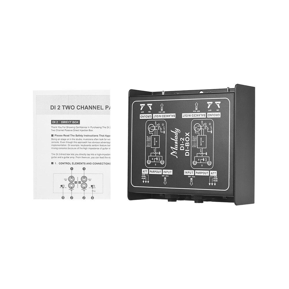 Muslady DI 2 Professional Dual Channel Passive DI Box Direct Injection Audio Box for Electric Guitar