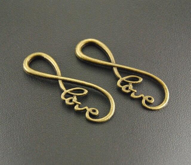 10pcs Antique Bronze Letter 8 Infinity Symbol Love Connector Link Charm Bracelet Necklace Jewelry