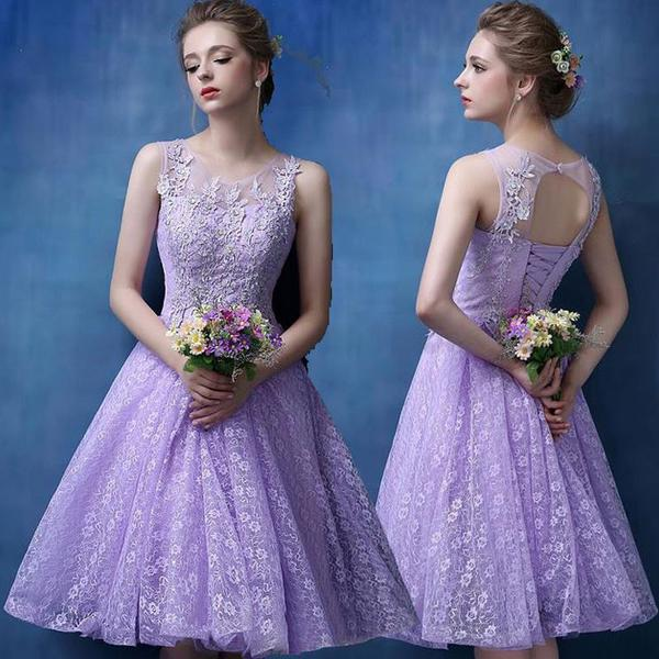 Cute Lilac Lace Juniors Short Prom Cocktail Dresses Knee Length A-line Sleeveless Beaded Cocktail Party Dresses Robe De Cocktail