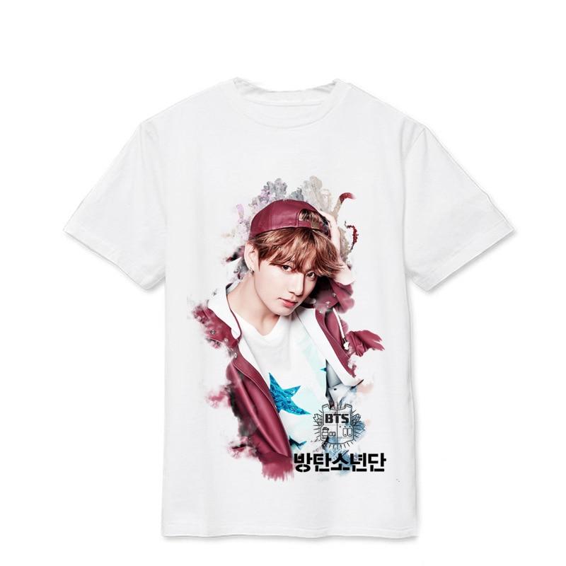 ONGSEONG Kpop BTS Bangtan Boys WINGS SUGA V Album Live Print Loose Shirts Hip Hop Tshirt T Shirt Short Sleeve Tops T-shirt DX494