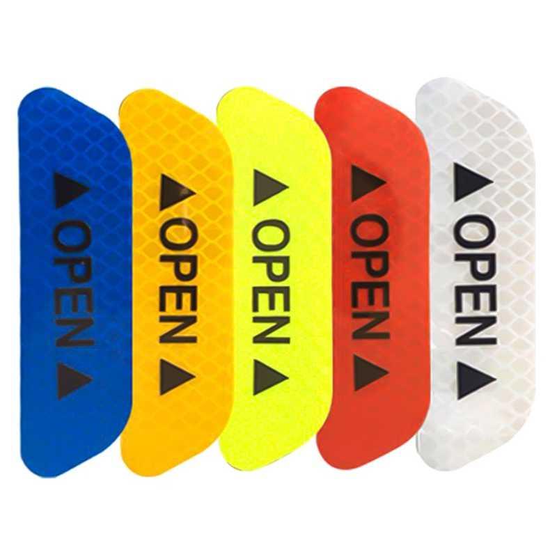 4 ピース/セット車オープン反射テープ警告マーク反射オープン注意自転車アクセサリー外装車のドアのステッカー DIY
