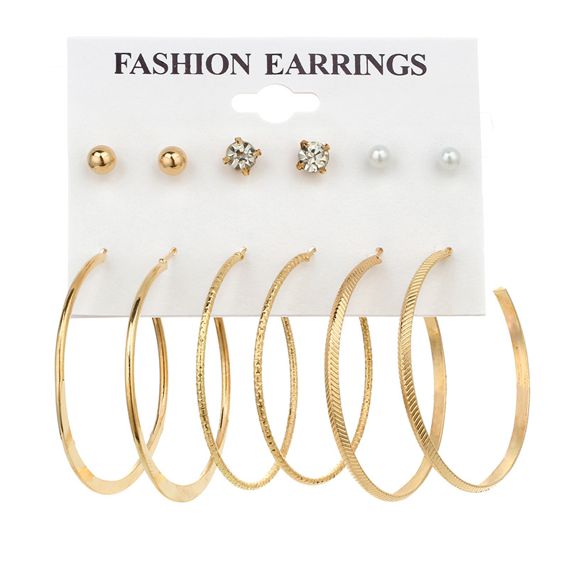 6 Pairs Big Smooth Circle Hoop Earrings Basketball Brincos Celebrity Loop Earring for Women Jewelry