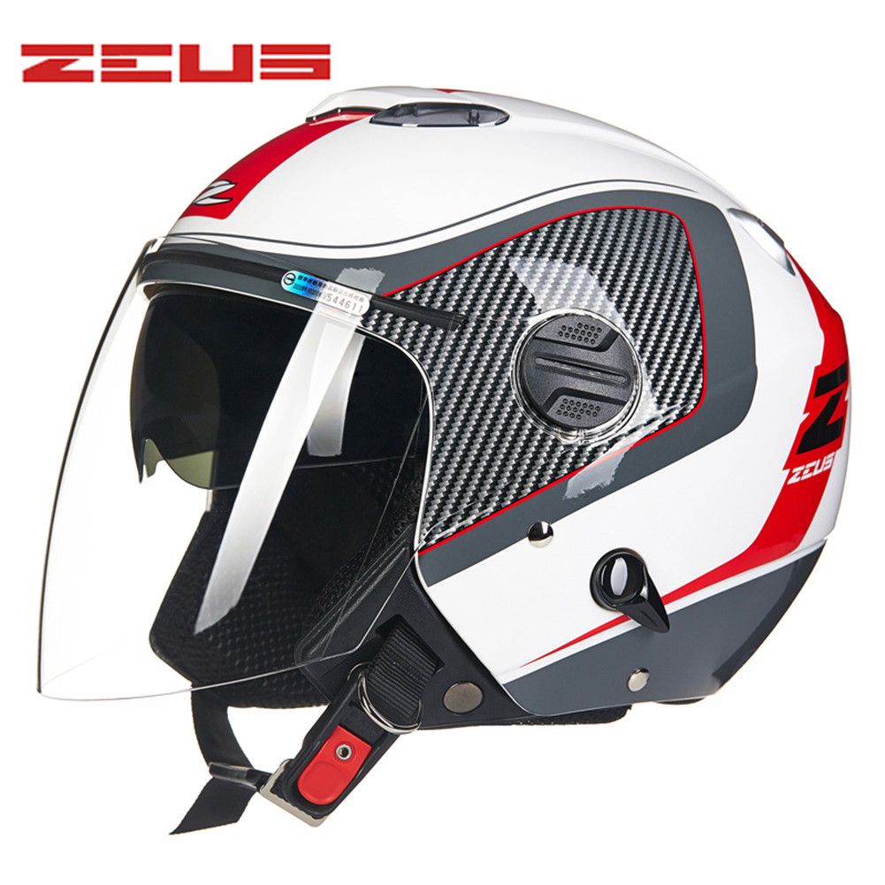 ZEUS Open Face Motorcycle Helmet Dual Visors Capacete Da Motocicleta Cascos Para Moto Casque Kask Helm Men Women Helmets Z20276 gxt dot approved harley motorcycle helmet retro casco moto cascos dirt bike open face vintage downhill helmets for women and men