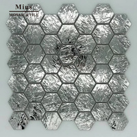 3D Hexagonal Stainless Steel Mosaic Metal Tile