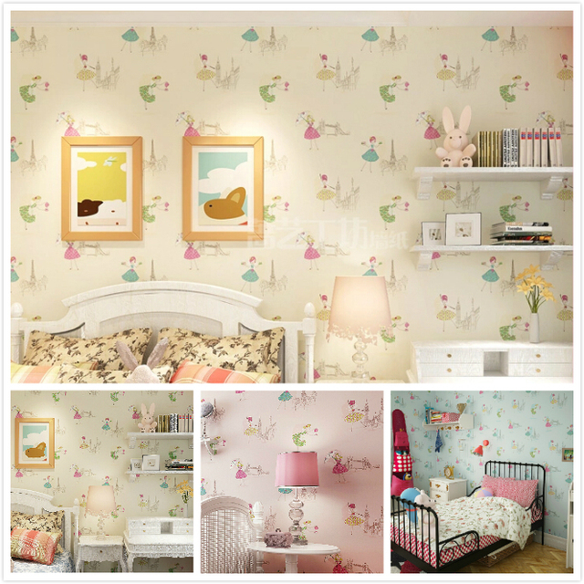 Modern Cartoon Dancing Girl Wallpaper Girls Bedroom Kids Room ...