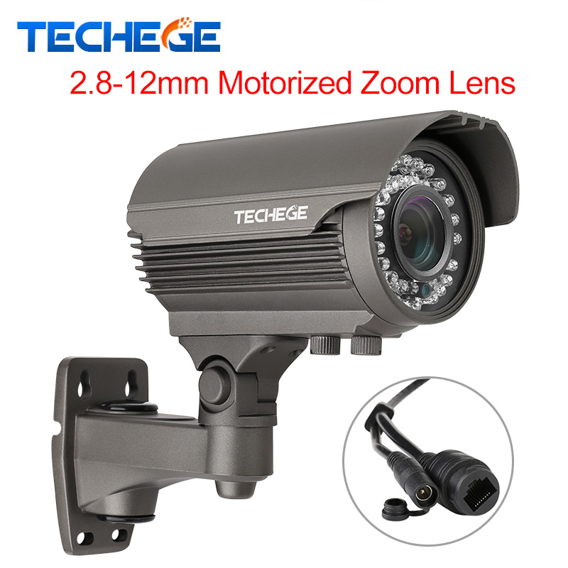 Techege HD 4.0MP H.265 H.264 2.8-12mm Motorized Zoom Lens 2592*1520 ip camera outdoor weatherproof bullet Camera DC12V/ 48P POE h 265 h 264 960p 1080p 4mp 2592 1520 motorized 2 8 12mm lens bullet network ip camera poe ipcam ip67 waterproof camara cctv