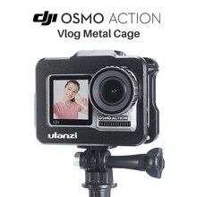 Ulanzi OA 1 Dji Osmo étui daction Vlog étui en métal pour Osmo Action avec chaussure froide pour Microphone LED lumière vidéo